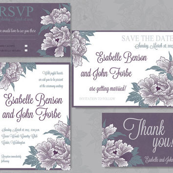 Vintage flower inspired wedding invitation stationery, personalized printable invitation, save the date, rsvp and thank you card.