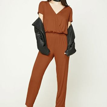 Slub Knit Surplice Jumpsuit