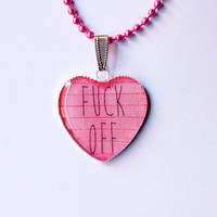 "Mature Content - F""ck Off On Pink Brick Wall - Handmade  Heart Cameo Pendant Necklace - Funny Bachelorette Gift"