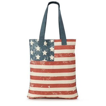 American Flag - Vintage USA Messenger Tote Bag - 16-1/4-in x 13-3/4-in