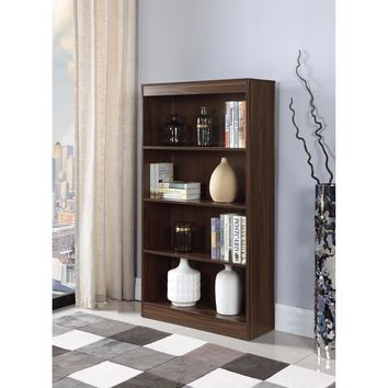 4 Shelf Transitional Wooden Bookcase, Brown