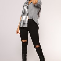 Londyn Gingham Tunic - Black/White