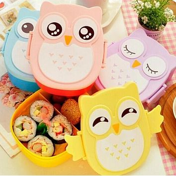 Top qualitity kawaii Candy Color Owl Lunchbox Microwave Oven Bento Container Case Dinnerware for kid food box