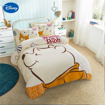 Disney Winnie the Pooh Printing Bedding Sets Kids Bedroom Decor Satin Cotton Bedspread Single Twin Queen King Size Beige Color