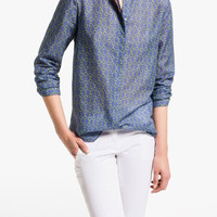 Blue Circle Print Long-Sleeve Mandarin Collar Chiffon Blouse