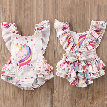 USA Kid Baby Girl Unicorn Backless Romper Bodysuit Jumpsuit Outfits Clothes wea