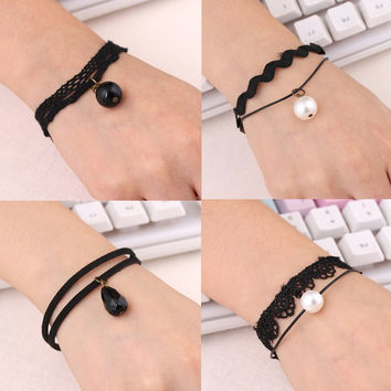 19 Colors Fashion Vintage Infinity Anchor Hook Artificial Leather Bracelet Men Women Steering-Wheel Bracelets & Bangles Jewelry