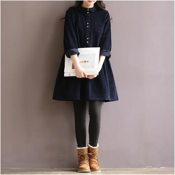 Japanese Korean Style College School Corduroy Green Dress Lady Long Sleeve Sweet Retro Fashion Dress Women's Winter Midi