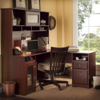 Bush Furniture Cabot 60 in. L-Shaped Desk with Hutch - Harvest Cherry | www.hayneedle.com