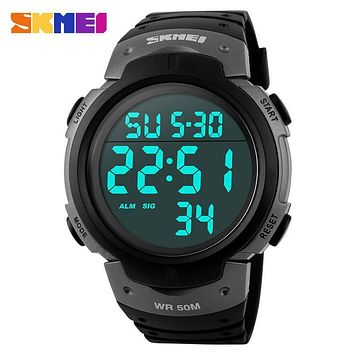 SKMEI Luxury Brand Men Sports Watches Swim 50m Digital LED Military Watch Men Fashion Casual Electronics Outdoor Wristwatches