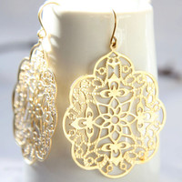 Gold fliligree earrings Alhambra. Matte gold earrings.  Boho earrings by Reyes Robledo