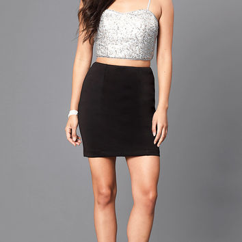 Mock Two-Piece Homecoming Party Dress with Sequins