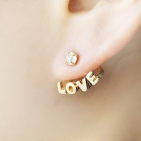 Christmas Gift Distinctive Gold Color Alloy Rhinestone Love Letters and Heart Stud Earrings for Women