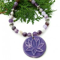 Lotus Flower Yoga Necklace, Purple Fire Agate Handmade Jewelry Gift