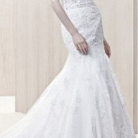 Gerry Style Tulle strapless sweetheart neckline beaded Bodices Mermaid tulle skirt with lace appliques scalloped hemline