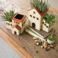 Set Of 2 Ceramic Houses Planters