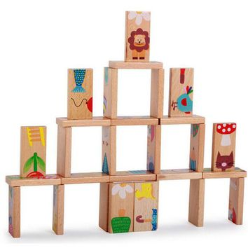 DCCKL72 28 Pcs Animal Domino Block Wooden Block Anime Solitaire Montessori Educational Toy Baby Kid Learning Toy Domino