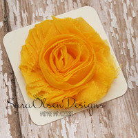 Rosette Hair Clip, Yellow Rosette, Frayed Chiffon Hairclip, Children's Hair Accessories, Toddler Hairclip, Girls Hairbow, Flower Hairclip