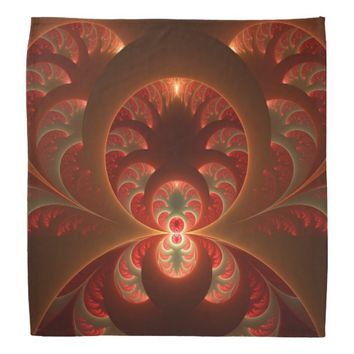 Luminous abstract modern orange red Fractal Bandana