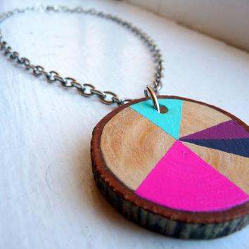 NEON CUPCAKE--statement necklace jewelry, chunky statement jewelry. geometric wooden necklace, geometric wood necklace, chunky wood necklace