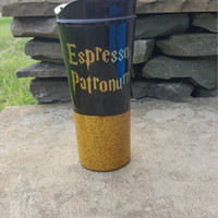 Harry Potter Inspired Travel Coffee Mug, Espresso Patronum Coffee Mug, Glitter Dipped Coffee Mug, Travel Mug