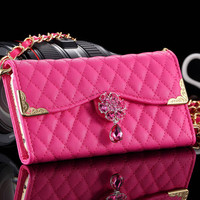 Luxury Sheep Lattice Bling Diamond Purse Wallet Flip Case for iphone 6 Plus 5.5 Phone Bag Cover PU Leather Deluxe RCD04376