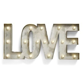 Creative Co-Op 'LOVE' LED Marquee Sign - Metallic