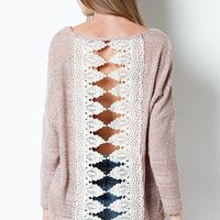 OPEN SEASON CROCHET SWEATER IN MOCHA