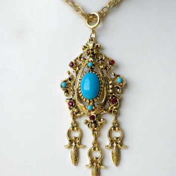 Dangle Pendant, Turquoise Blue Pendant, Victorian Revival Pendant, Large Necklace Pendant, Gothic Revival Jewelry, Big Pendant, Designer
