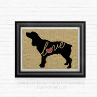 Boykin Spaniel - Burlap Printed Wall Art, Silhouette, Dog, Wall Art, Rustic, Typography, Puppy, Dog Lover, Gift, Breed, Toy, Christmas, Gift