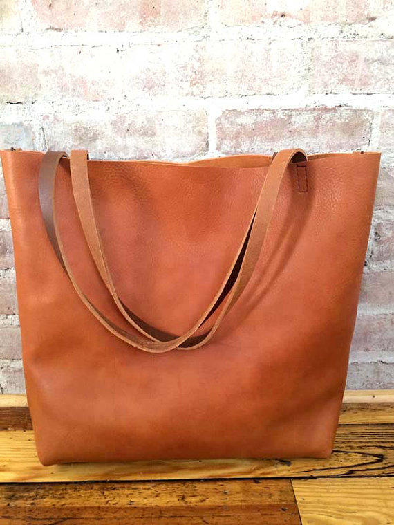 Brown Leather Tote Bag Distressed Travel Market With Removable Cross Body Strap