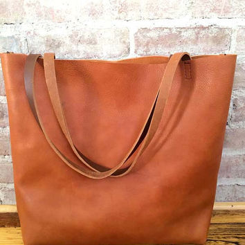 a2f5eae358 Brown Leather Tote Bag - Distressed Brown Leather Travel Bag - L