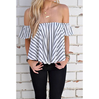 White Off the Shoulder Stripe Loose Blouse