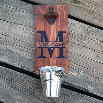 Man Cave Beer Bottle Opener - Personalized with Cap Catcher Bucket