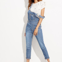 Pale Blue Strap Ripped Overall Jeans With Pocket