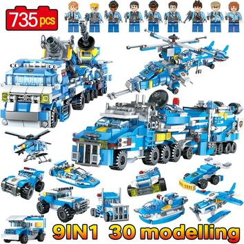 9 In 1 LegoINGLY City Police Series Fire Engine Car Helicopter Police Figures Bricks Model Building Blocks Educational Kids Toys