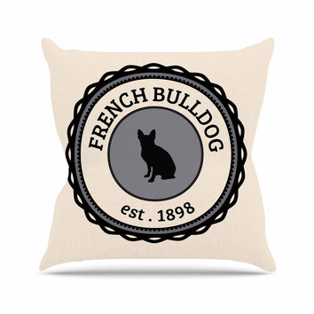 "KESS Original ""French Bulldog"" Beige Dog Outdoor Throw Pillow"