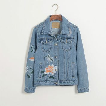 2017 autumn new denim jacket female European and American denim jacket AA denim jacket women's denim jacket embroidery
