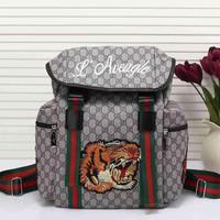 DCCK Gucci Women Men Tiger Embroidery Leather Shoulder Bag Travel Bag Backpack