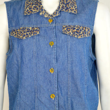 90s Denim Top: denim top with leopard / denim vest / 90s denim vest / vintage denim vest / jean vest / vintage jean vest / leopard