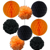Halloween Decoration 8pcs Orange and Black Honeycomb Balls  Paper Flower Tissue Pompoms Halloween Accessory Party Decoration