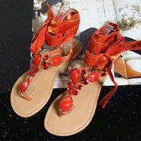 Orange Jeweled Flat Sandals with Ribbon Tie