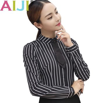 Autumn women's long sleeve blouse OL elegant stripe bow tie turn-down collar Formal chiffon shirts ladies office work wear tops