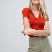 Bershka ribbed button front collar top at asos.com