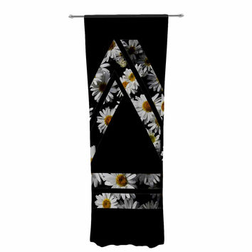 "Alias ""Impossible Daisy Chain"" Black Yellow Decorative Sheer Curtain"