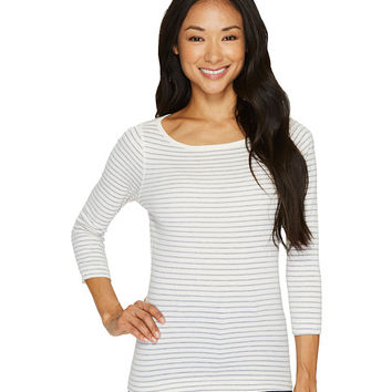 Three Dots Tahoe Stripe 3/4 Sleeve British Tee