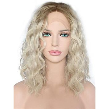 Short Brown Blonde Ombre Bob Curly Synthetic Lace Front Wig