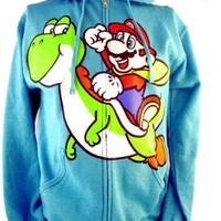 Super Mario Brothers Mens Hoodie - Riding Yoshi Image on Turquoise (Nintendo, Wii, 3DS, New, Galaxy)
