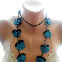 crochet necklace, blue lariat scarf, crochet lace jewelry,  crochet scarf, , crochet blue necklace, scarves for her