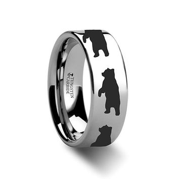 Animal Design Ring - Standing Bear Print -  Laser Engraved - Flat Tungsten Ring - 4mm - 6mm - 8mm - 10mm - 12mm